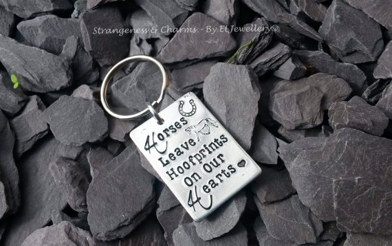 Horses Leave Hoof prints On Our Hearts Keyring