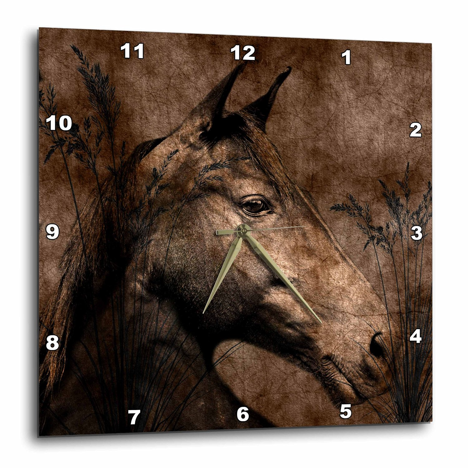 Western Brown Horse Grunge and Charcoal Wall Clock