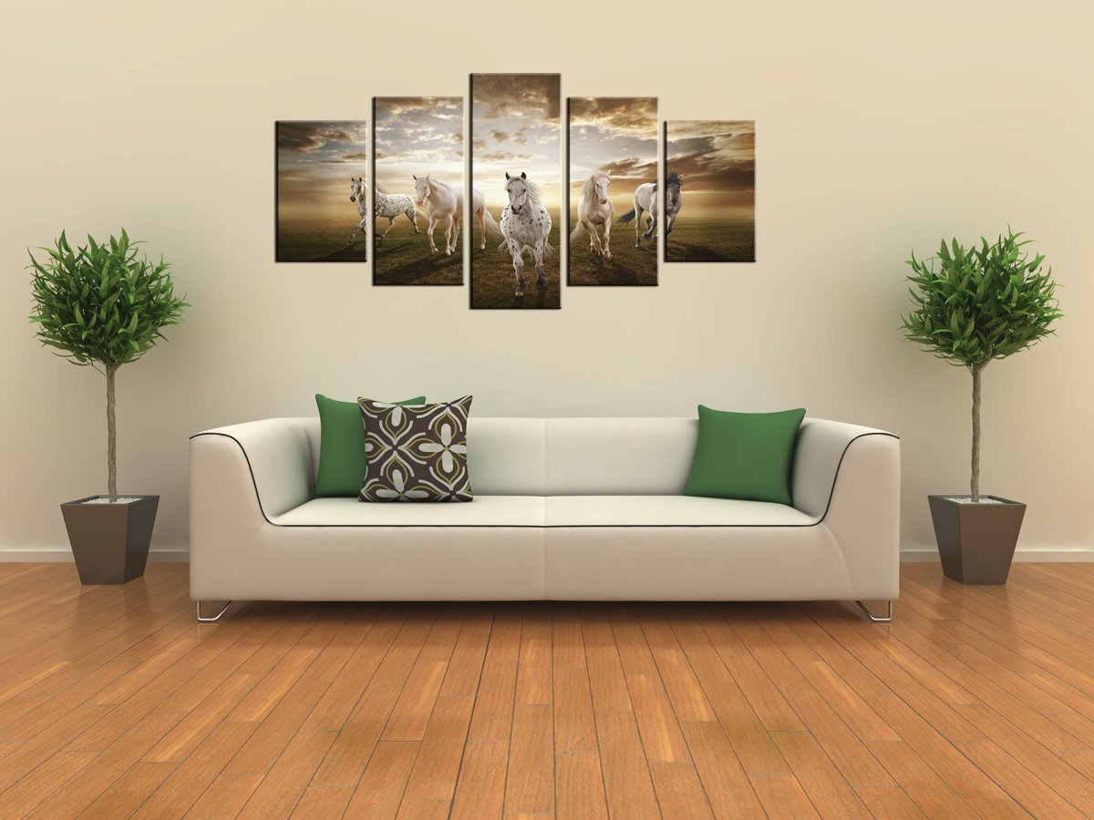 horse decorating stableexpress 5 panels white horse canvas print photo canvas art for home decoration attractive equestrian art ideal center piece for any room