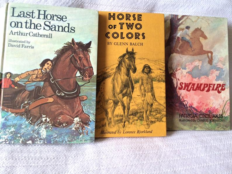 1970s horse books - vintage Weekly Reader Book Club books set of 3