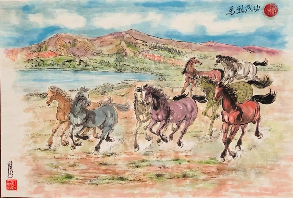 Chinese Horse Paintings by Noppadol - Coloured Stallion