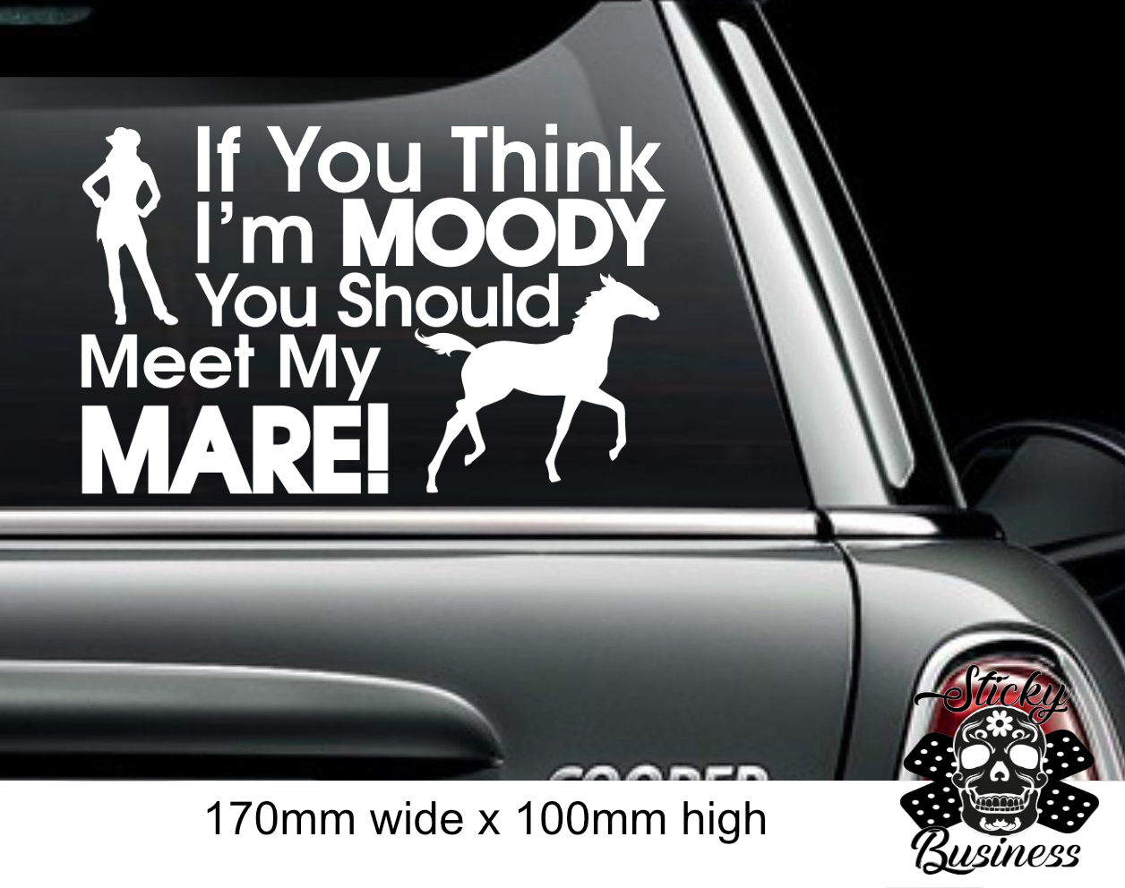 HORSE STICKER Funny Moody Mare Rider Cowgirl