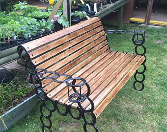 Horse Shoe Wooden Bench