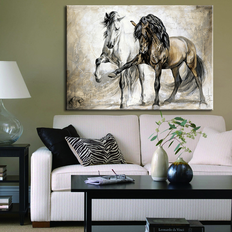 Horse Abstract Canvas Wall Art - Coloured Stallion