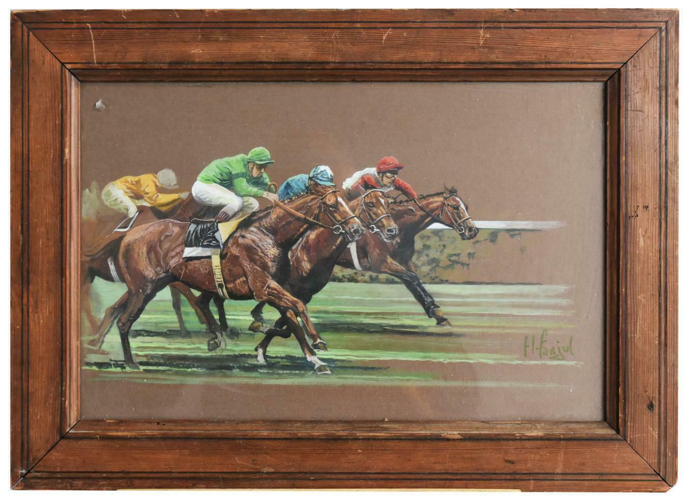 Horse Racing Watercolor by Henri Fanjul