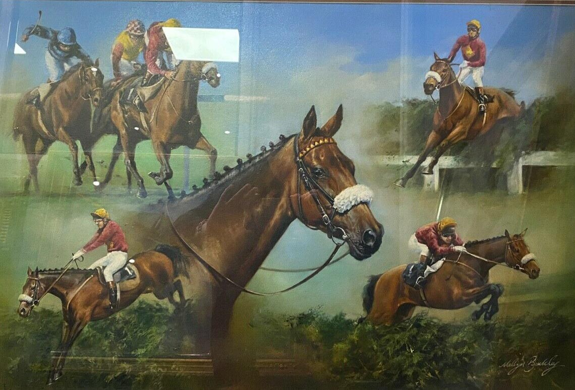 Red Rum Original Oil on canvas painting Melvyn Buckley comm by Danbury Mint