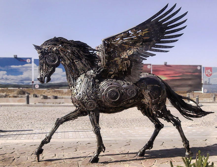 Steampunk Animal Sculptures Made Of Scrap Metal By Hasan Novrozi