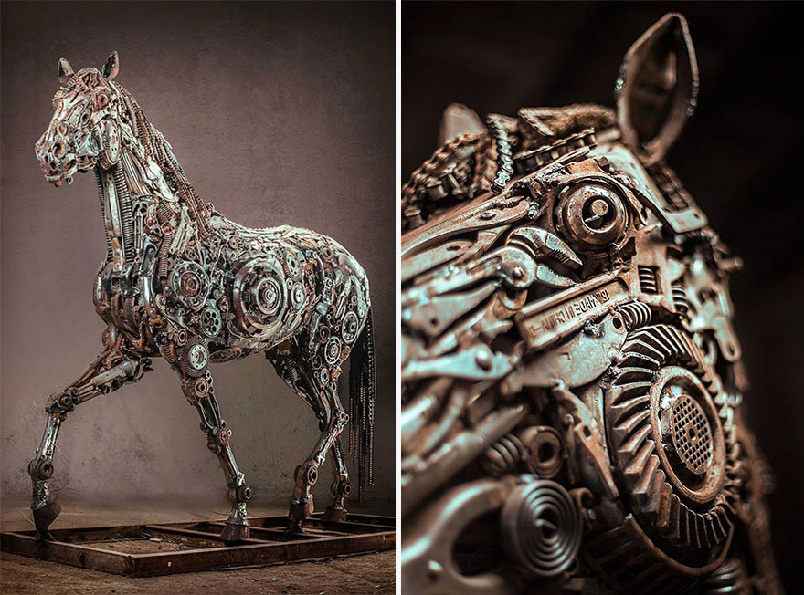 Steampunk Horse Sculptures Made Of Scrap Metal By Hasan Novrozi